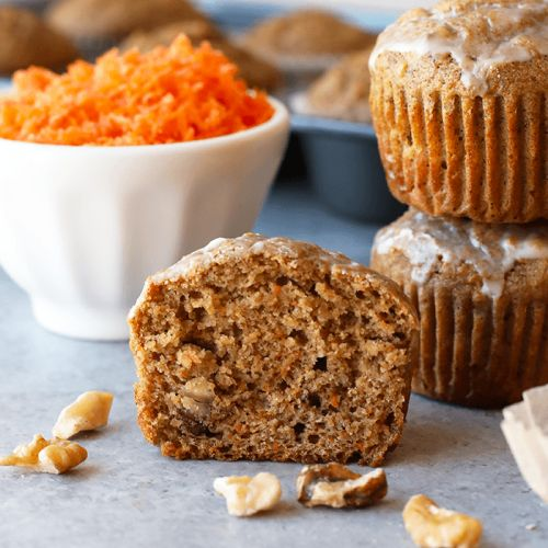 Whole Grain Carrot Cake Muffins with Walnuts