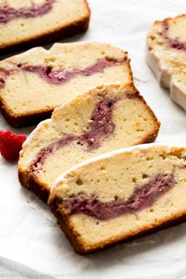Easy Raspberry Swirl Pound Cake