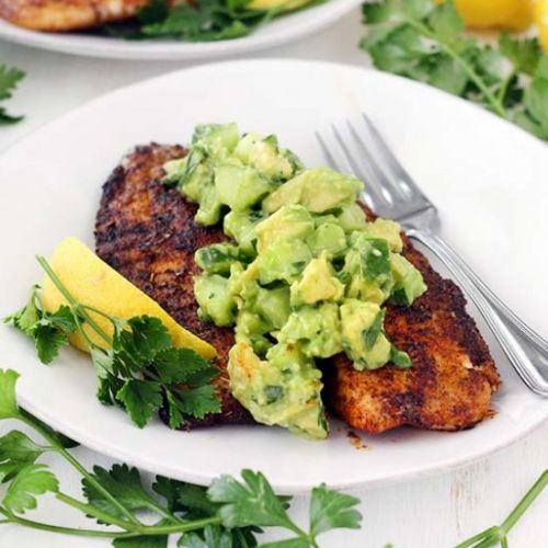 Blackened Tilapia + Cucumber Salsa