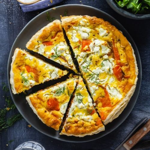 Smoked Salmon Quiche With Cheese