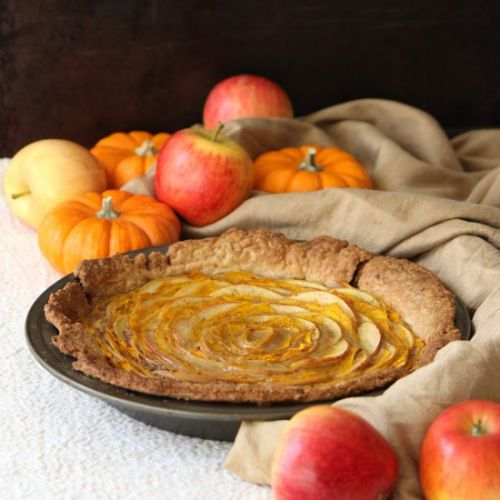 Pumpkin and apple rose tart