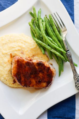Grilled Maple Chipotle Pork Chops Over Smoked Gouda Grits