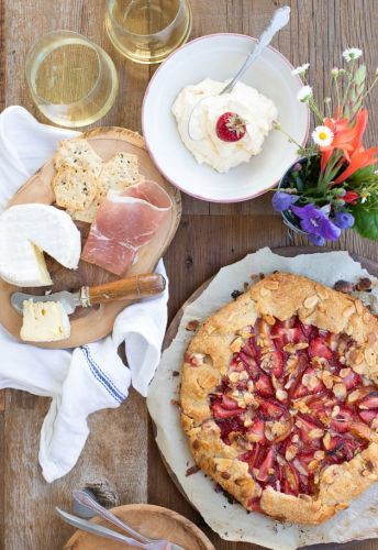 Summer Picnic: Strawberry, Peach, and Almond Galette with Almond Whipped Cream and Beaujolais Wine