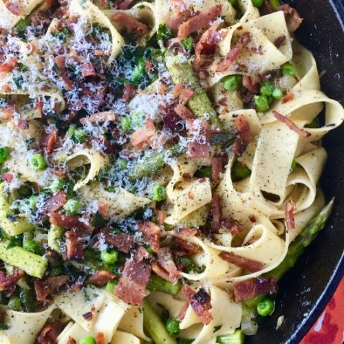 Pea and Asparagus Carbonara