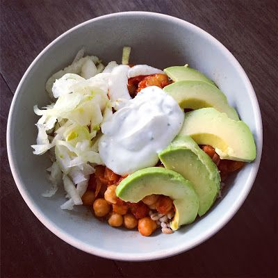 Harissa Chickpea Stew with Yogurt Sauce