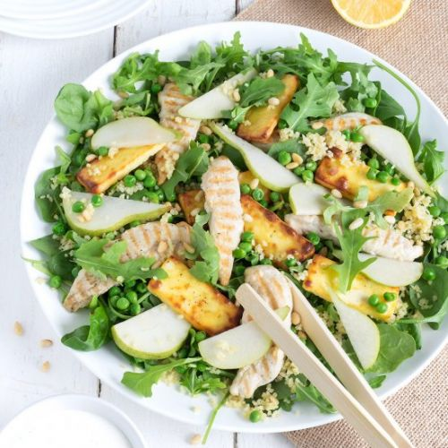 Chicken, Pear and Haloumi Salad