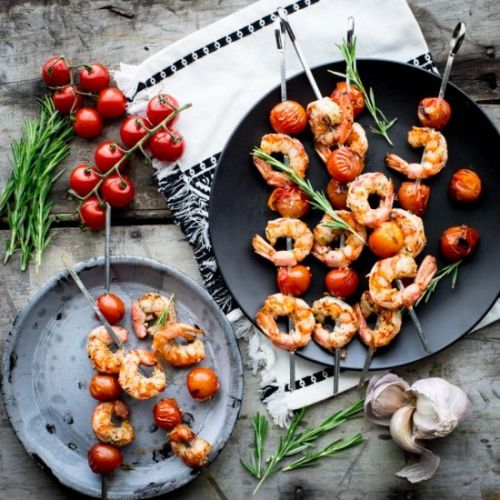 Shrimp and tomato kabobs