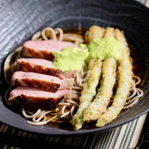 Duck and tempura on soba noodles