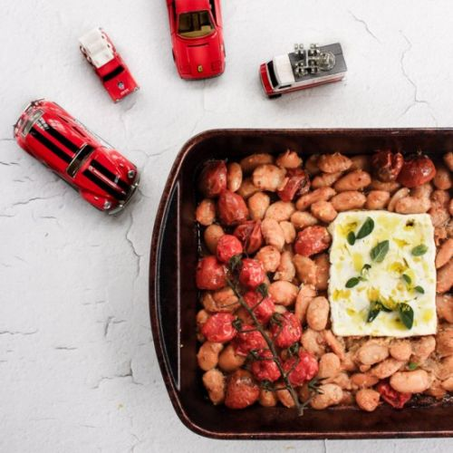 Baked gigante beans with feta