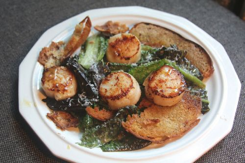 Caesar Salad with Seared Scallops