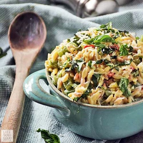 Garlic and Parmesan Orzo with Fresh Veggies