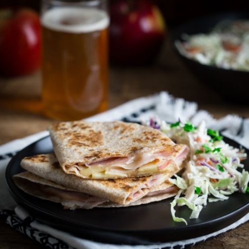 Apple, ham and cheddar quesadillas