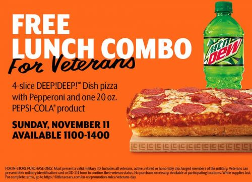 Little Caesars Pizza Treats Veterans and Military to Free $5 HOT-N-READY Lunch Combo for Veterans Day