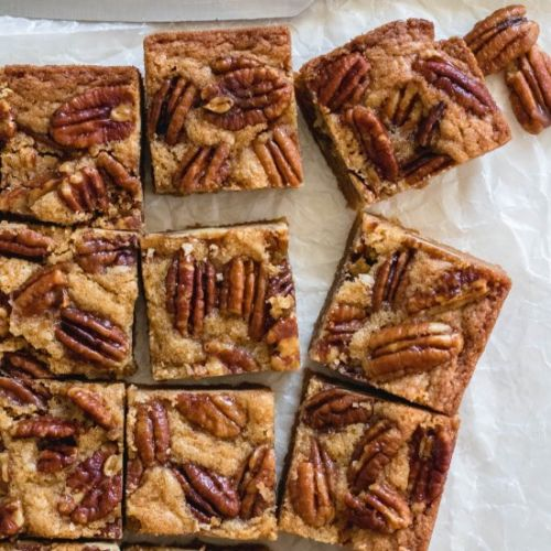Brown Butter Candied Pecan Blondies