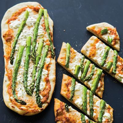 Asparagus and Goat Cheese Pizza with Red Pepper Pesto - Recipes - Food ...