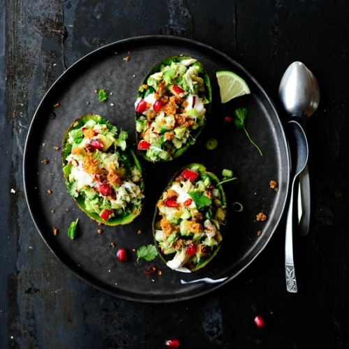 Mackerel stuffed avocados
