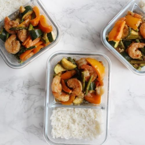 Meal Prep Kung Pao Shrimp