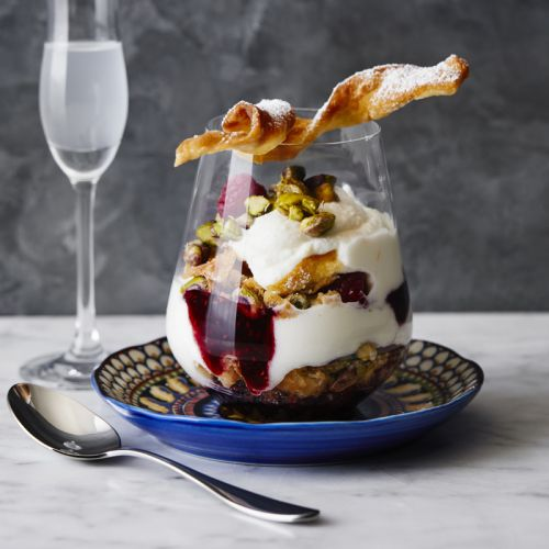 Fruit Parfaits with Cannoli Cream and Pistachios