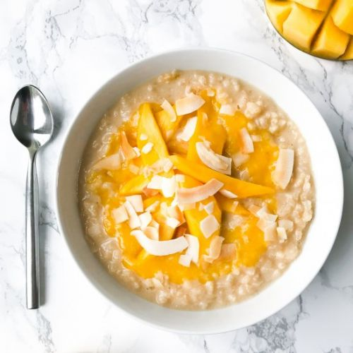 Coconut and mango rice pudding