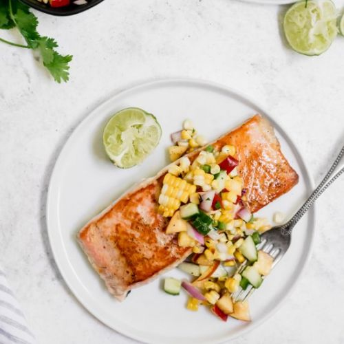 Salmon with Corn & Nectarine Salsa