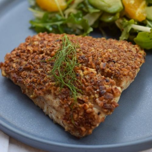 Easy Pecan Crusted Halibut