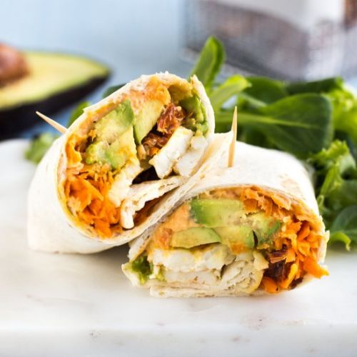 Avocado and halloumi wraps