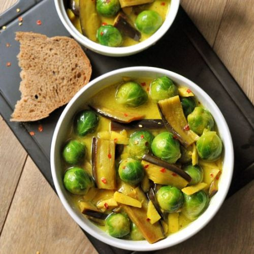 Brussels Sprouts Eggplant Curry
