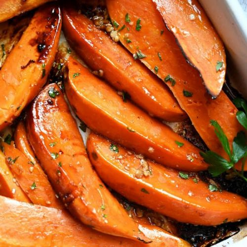 Sesame Soy Roasted Sweet Potatoes