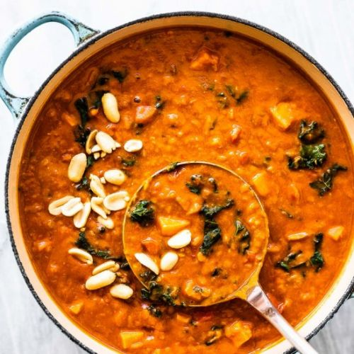Coconut Red Lentil Peanut Soup