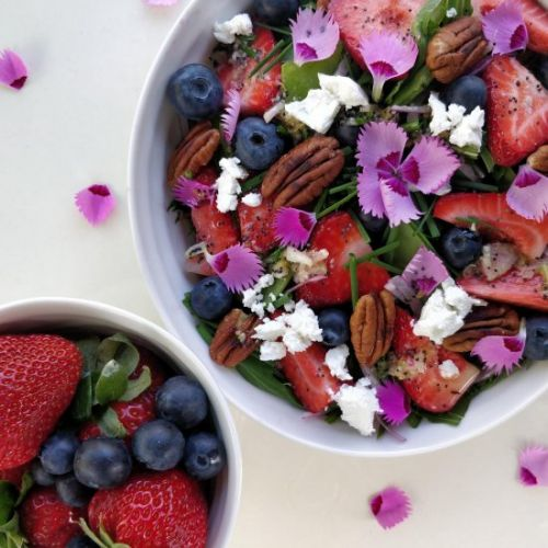 Mizuna Salad with Berries & Petals