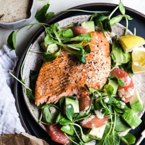 Baked Salmon with Grapefruit Salad