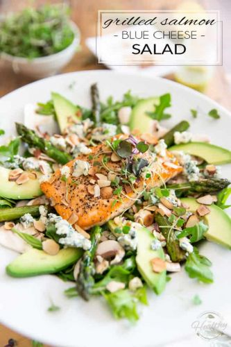 Grilled Salmon Blue Cheese Salad