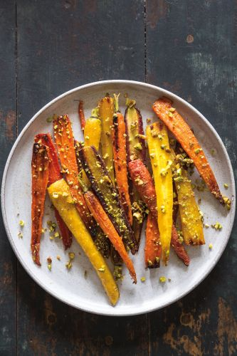 Roasted Carrots with Fennel, Pistachios and Honey Vinaigrette