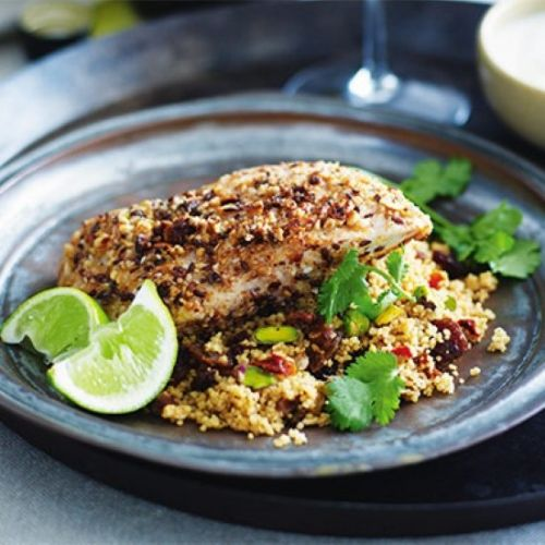 Dukkah crusted snapper on cous cous