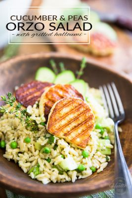 Cucumber and Peas Orzo Salad with Grilled Halloumi