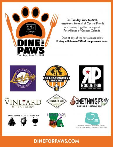 """Dine For Paws"" At Central Florida Restaurants To Support Pet Alliance Of Greater Orlando On Tuesday, June 5"