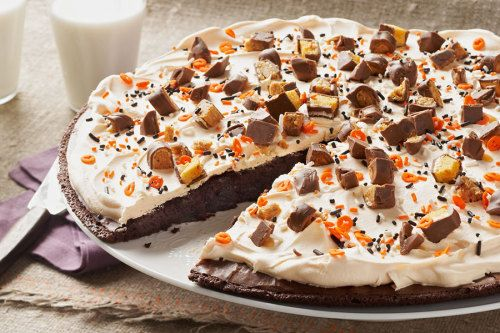 This ghoulish Bats and Bones Brownie Pizza is perfect for your
