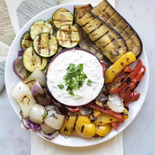 Grilled Vegetables with Cacik