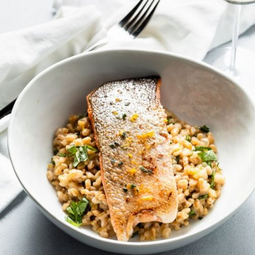 Sous Vide Salmon with Farro Risotto