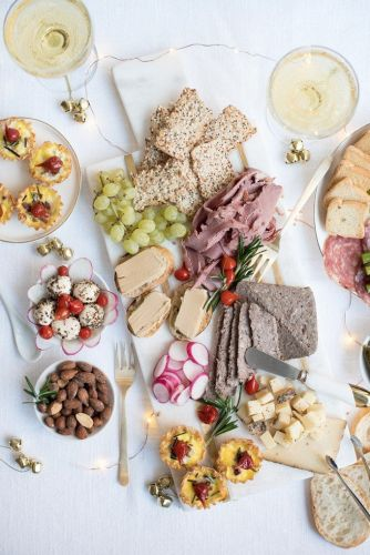 Charcuterie and Champagne Brunch with Smoked Duck Quiches