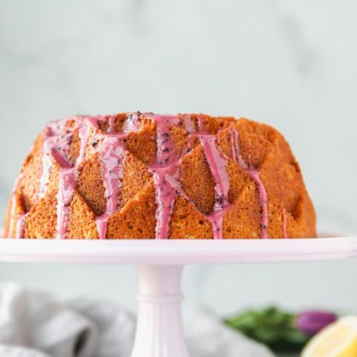 Lemon Cake with Blueberry Glaze