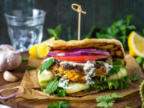 Grilled Tandoori Chicken Patties with Jalapeno-Mint Yogurt Sauce
