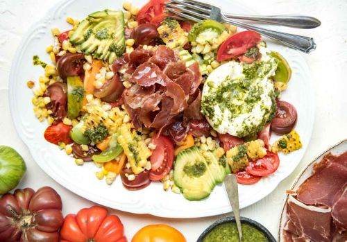 Corn, Tomato, Avocado Salad with Bayonne Ham