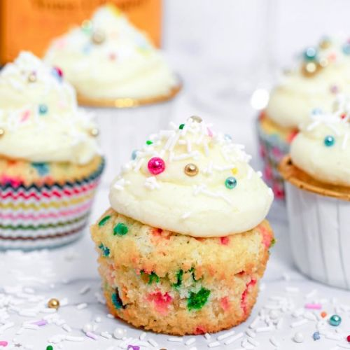 Confetti Cupcakes with Champagne