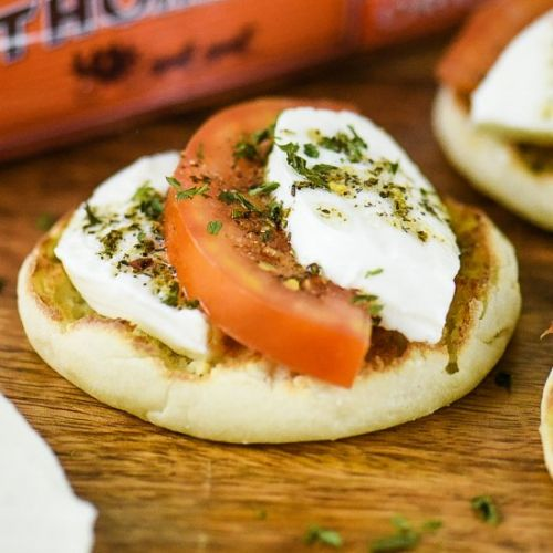 Open-Face Caprese English Muffins