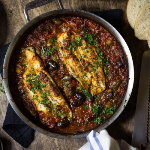 Fish in tomatoes & olives