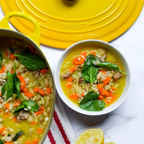 Orzo Soup with Sausage & Spinach