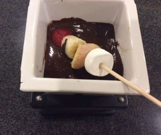 2 Ingredient Chocolate Fondue With Donut and Friut Kabobs