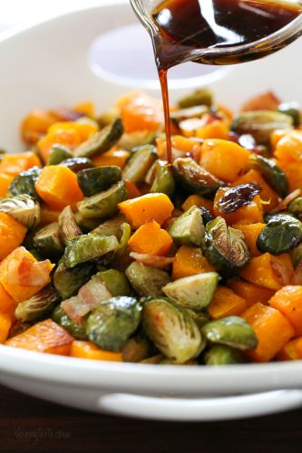 Maple Soy Glazed Roasted Brussels Sprouts and Butternut Squash with Bacon