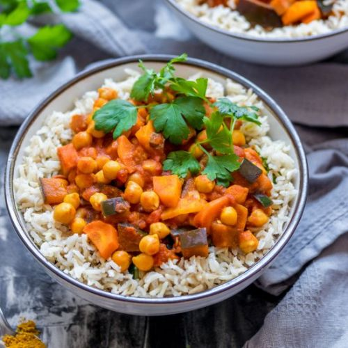 Chickpea eggplant curry